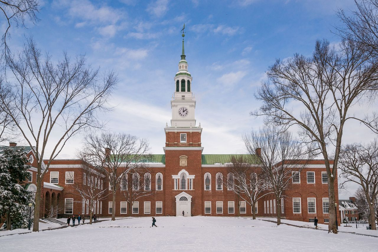 Dartmouth College campus in the winter.