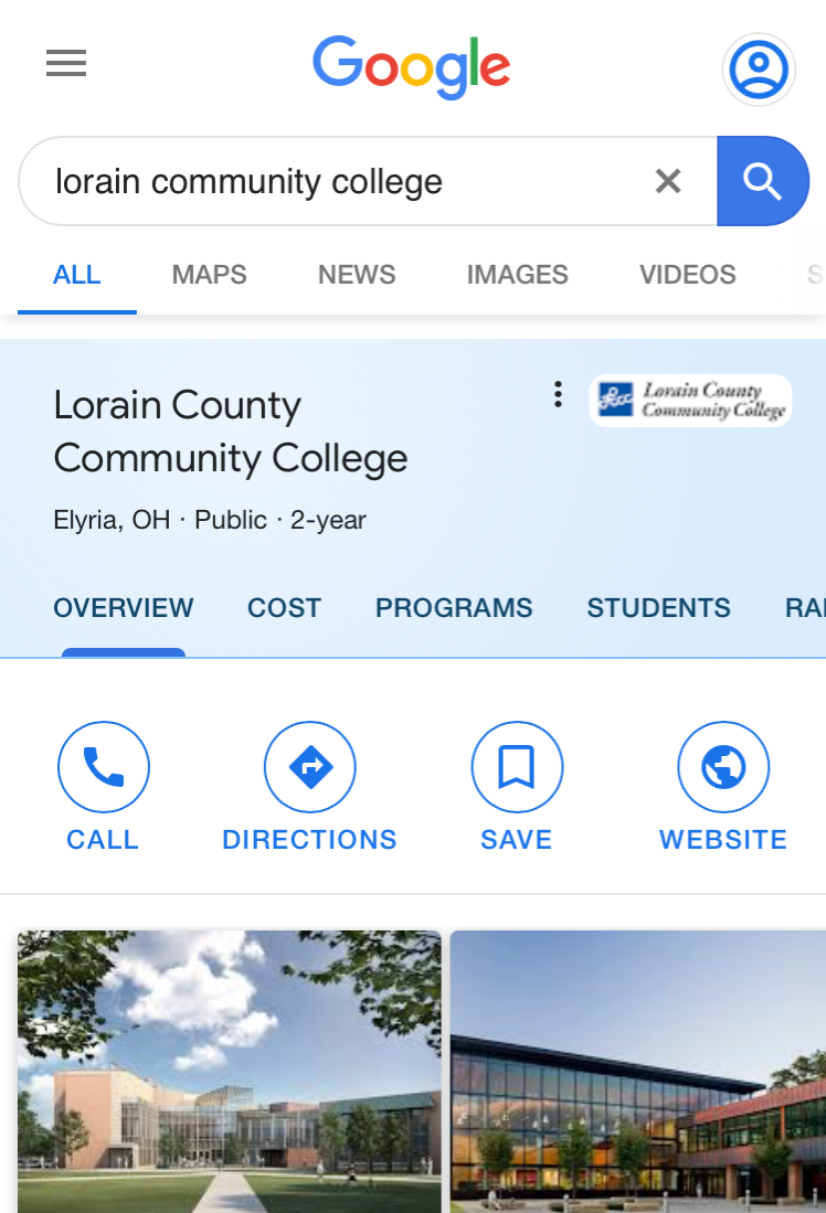 Screenshot of Google's community college search feature.