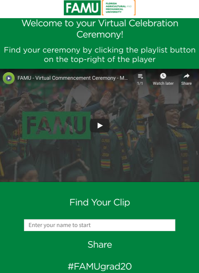 Florida A&M University's virtual graduation webpage