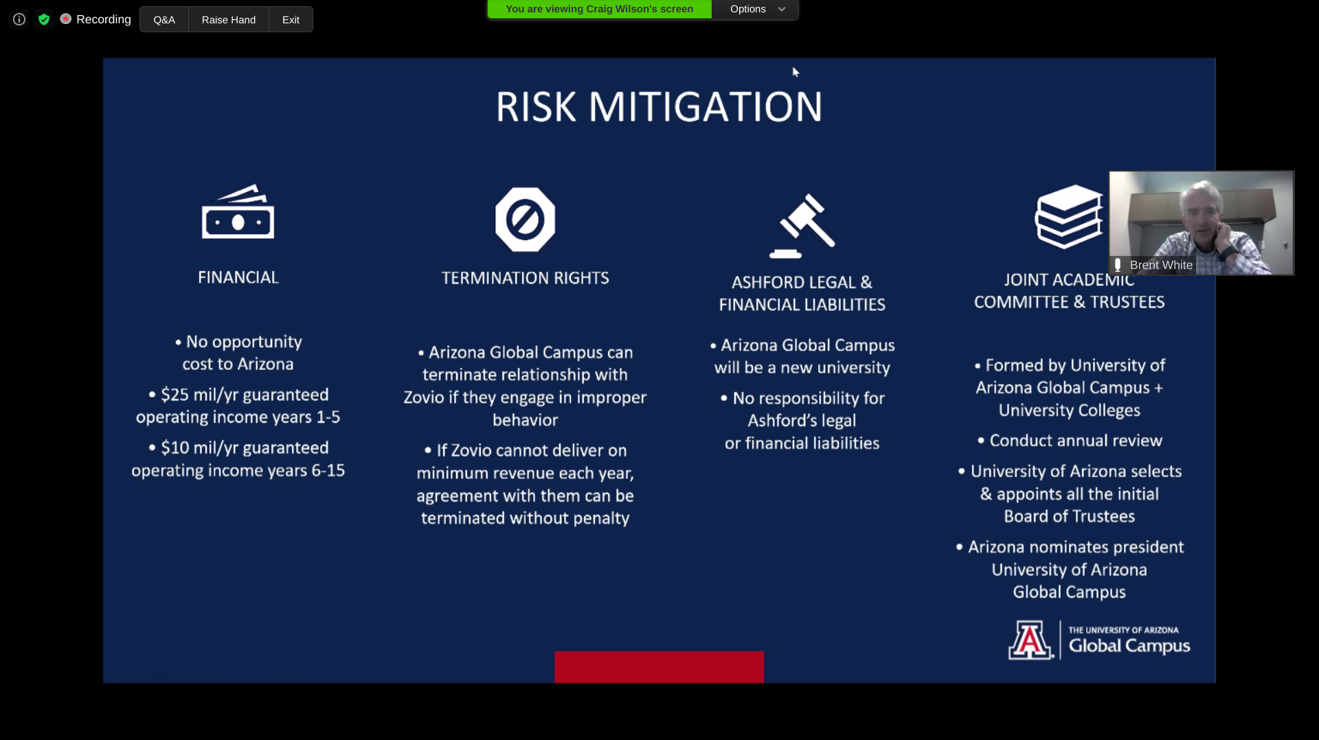 Screenshot of the U of Arizona officials' presentation at the Faculty Senate meeting, Aug. 17, 2020